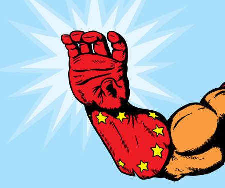 superhero hand holding card Stock Vector - 6469389