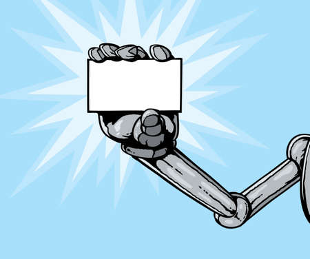 Robot hand holding card Vector