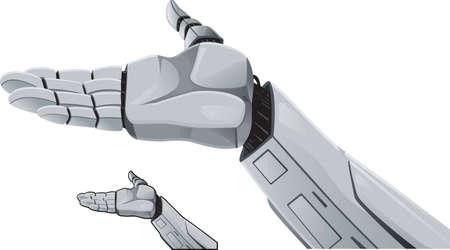 bras robot: D�monstration de la main de robot. Illustration