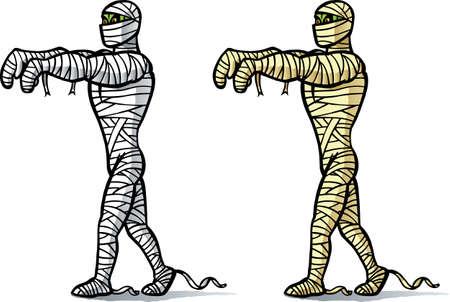 mummified: Cartoon Mummy walking.