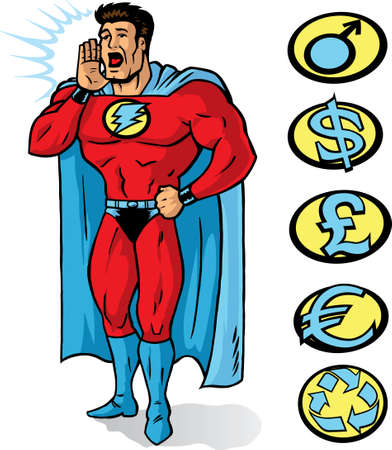super guy: Superhero announcing or yelling something