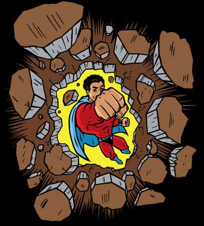 rompiendo: Superh�roe volando a trav�s y rompiendo una pared  Vectores