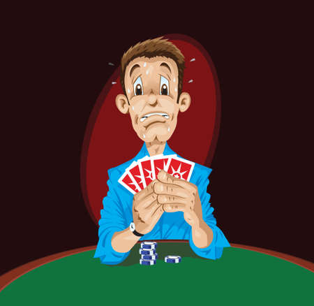 怖がってポーカー プレーヤー  イラスト・ベクター素材