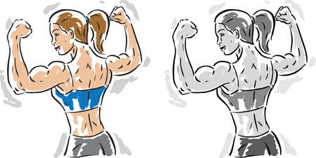 Woman flexing her muscles, showing how fit she is. Vectores