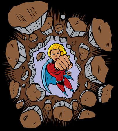 girl fighting: Superhero punching through wall
