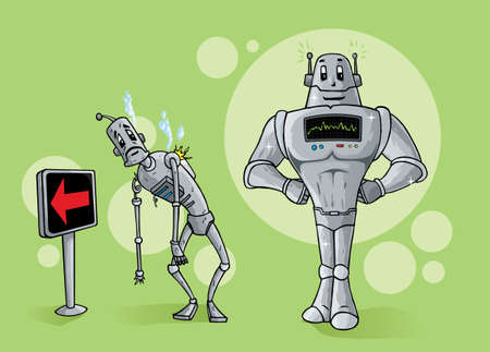 decrepit: Old robot leaving, being replaced by new one. Illustration
