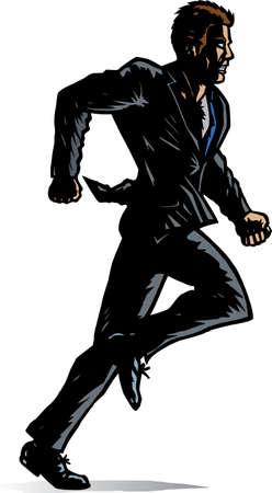 businessman shoes: Stylized Man running