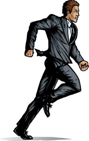 Comic like Business man running Stock Illustratie
