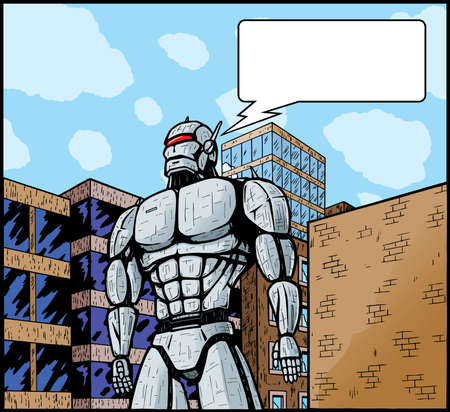 attacking: Giant robot in city attacking it or defending it.