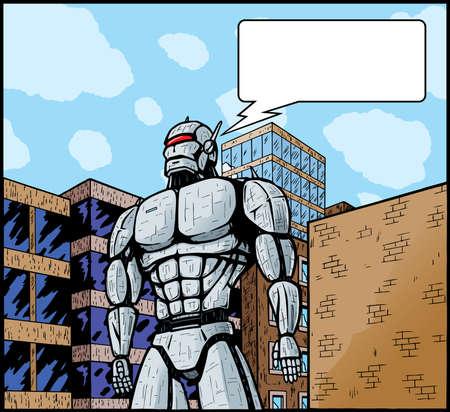 talking robot: Robot gigante en ciudad lo atacar o defender.