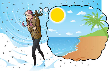 scarf beach: Freezing girl dreaming of a warm vacation.  Illustration