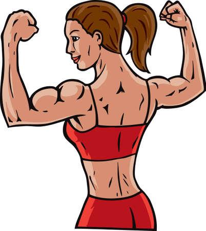 trizeps: Frau flexing Ihre Muskeln, zeigt, wie Sie ist. Illustration