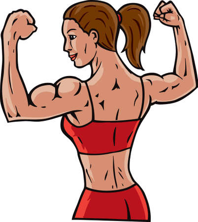 strong: Woman flexing her muscles, showing how fit she is. Illustration
