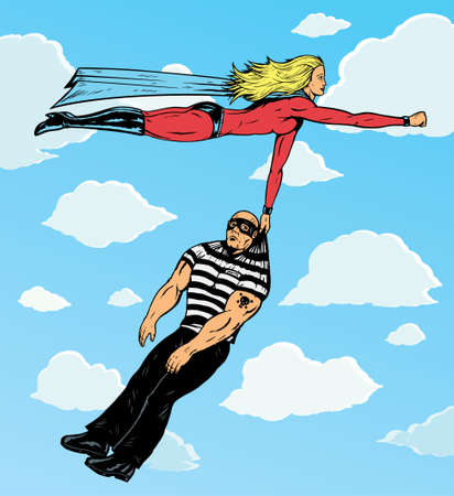superheroine carrying villain to prison. Left arm and burglar are on separate layers, and can be ajdusted or moved. Vettoriali