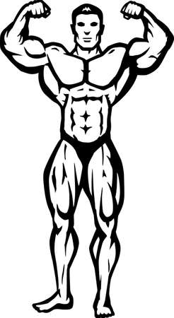 Stylized bodybuilder, bathing suit is on a separate layer, and can be removed.