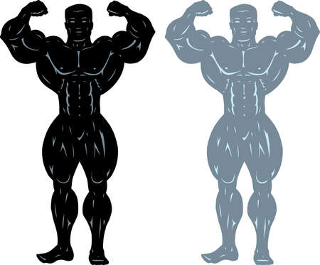 Two different drawings of a huge bodybuilder. Vector