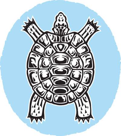 네이티브 아트와 비슷한 거북이의 stylised 드로잉.