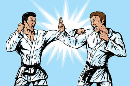 Two Martial artists fighting. Vector