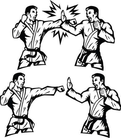Stylized Karate practioners
