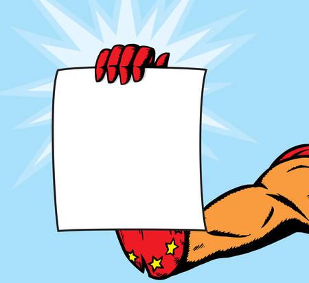 Superheroine female hand holding flyer Illustration