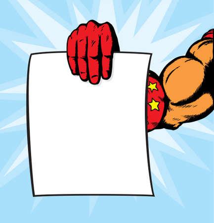 superhero hand holding flyer. Vector