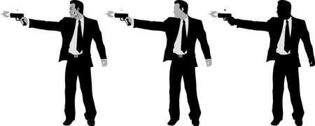 トリガー: ビジネス銃を持つ男  イラスト・ベクター素材