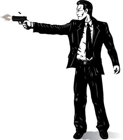 Business man with gun Stock Vector - 6907047