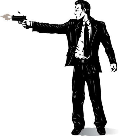 shooting gun: Business man with gun