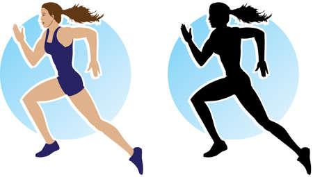 Outline of running girl Stock Vector - 6907049