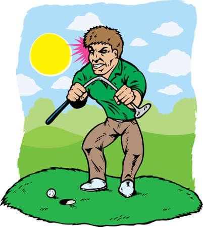 Golfista enojado, su club, que necesitan lecciones de plegado.  Ilustración de vector
