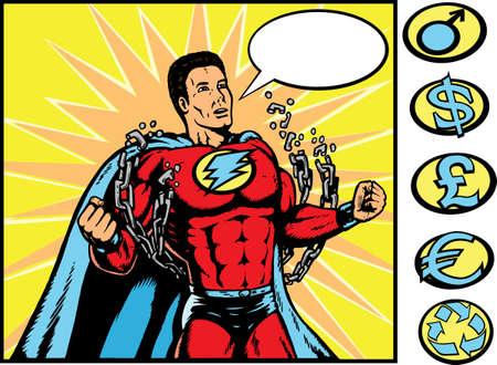 break: Superhero breaking chains.  Illustration