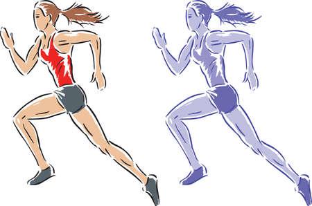 Estilizado dibujo de una chica que se ejecuta  Foto de archivo - 6944675