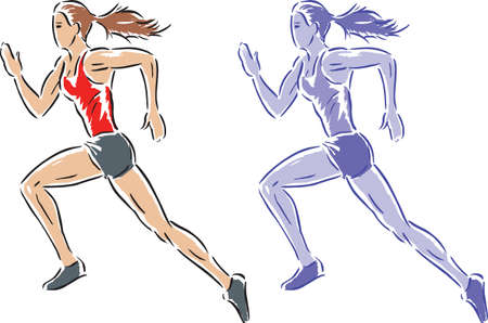 Stylized drawing of a girl running