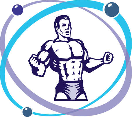 strong: Stylized muscular man inside an atom
