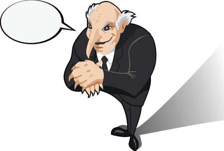 plotting: Evil genius or business man plotting.