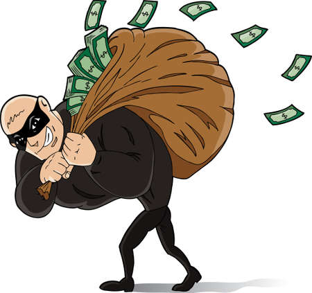 thieves: Big thief stealing a lot of money. Illustration