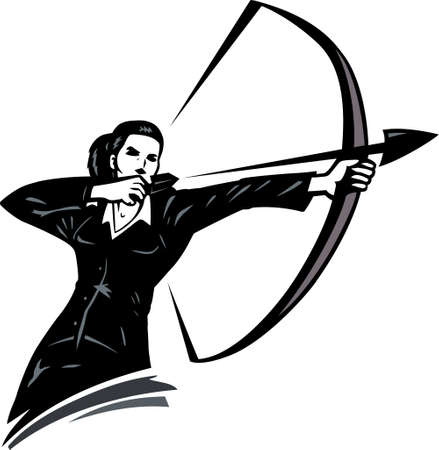 arrowhead: Business woman with a bow, showing shes always on target.