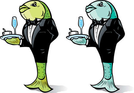 Fish serving food in two different colours.