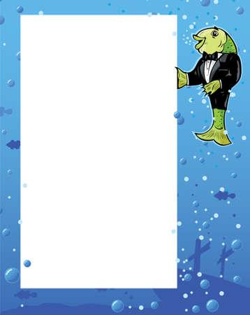 Fish Waiter showing menu Stock Vector - 6944685