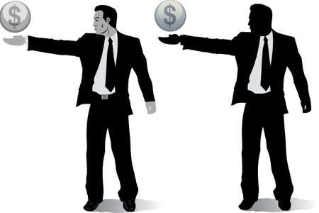 お金の地球儀を持ったビジネスマン