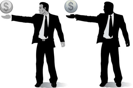 Businessman with money globes