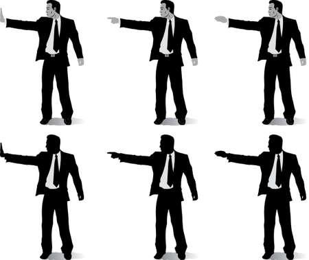 ビジネスの男性と異なる手の位置