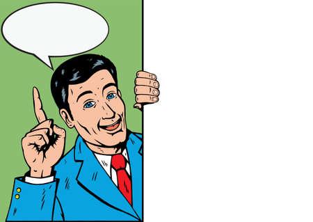 Cartoon man with Sign