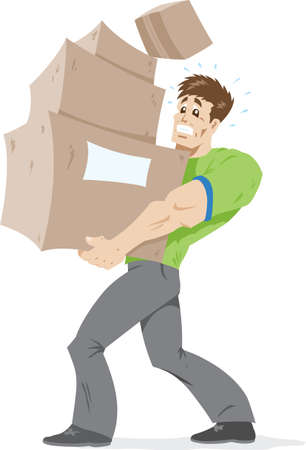 Guy carrying boxes.  Vector