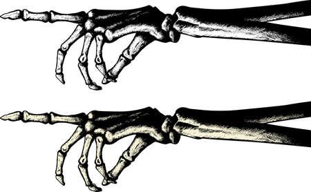 Inkt tekening van een skeleton wijzend handje