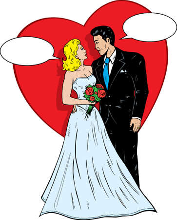 1950s comic book wedding. Stok Fotoğraf - 7057258