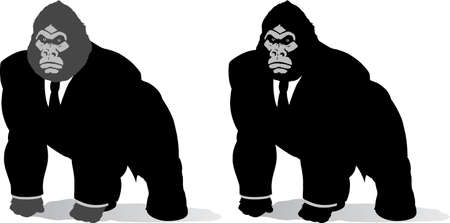Gorilla in suit, done in a stylized format.