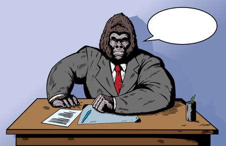 personne en colere: Gorilla en costume au bureau