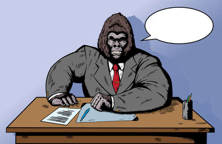 simian: Gorilla in suit at desk