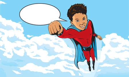 Superheld Kid vliegen door de wolken